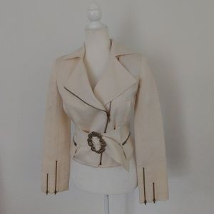 Jackets & Blazers - Textured Cropped Moto Style Jacket